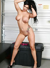 Curvy goddess with sexy black hair and hot tattoos - Kerry Louise takes off the uniform