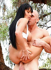 Amazing fucking scene with brunette milf Allison Star at the open air