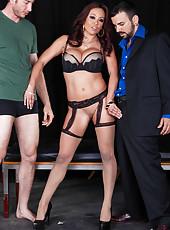 Amazing double penetration scene at the backstage with Mia Lelani