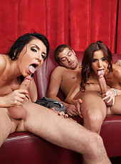 Fantastic ladies Gia Dimarco and Romi Rain got two cocks in the group sex scene