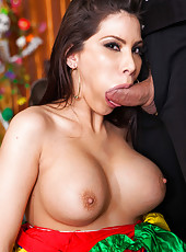 Brunette milf Aleksa Nicole double penetrated in the threesome action
