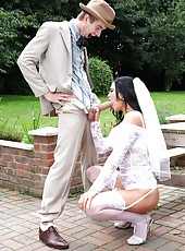 Outdoor scene with a dangerous and horny bride named Jasmine Jae
