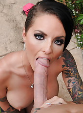 Hardcore outdoor fuck with a dangerous brunette milf named Christy Mack