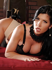 Smoking hot brunette bombshell Rebeca Linares, her big tits and trimmed pussy