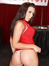 Long haired brunette milf Rachel Starr takes off her red dress and sexy lingerie