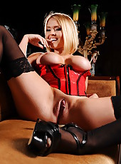 Blonde babe in super sexy corset and stockings Krissy Lynn strips hot