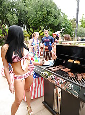 Patriotic brunette hottie Audrey Bitoni gets fucked hardcore on the american flag