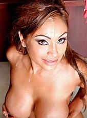 Lucky man presents busty babe Priya Anjali Rai a sweet facial after hot fuck