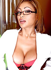 Incredibly hot action with stunning Priya Anjali Rai in hot glasses and skirt