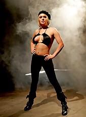 Busty blonde babe Krissy Lynn enjoys hardcore fucking on high heels