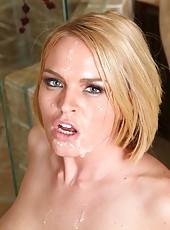 Busty blonde milf in sexy blue latex uniform Krissy Lynn pounded in the bathroom