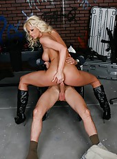 Dangerously tempting blonde milf Tanya James and lucky man in the action