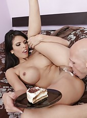 Buxom milf Shy Love has sweet time with her chief