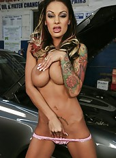 Sumptuous and luxury Angelina Valentine amazes with her tattoos and big tits