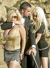 Lucky man meets two busty, gorgeous and horny blondes Gina Lynn and Shyla Stylez