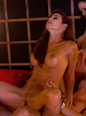 Wild threesome action with two amazing milfs Angelina Valentine and Ryder Skye