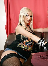 Gorgeous blonde rock star Nikki Benz got a fresh cumshot on her big nipples