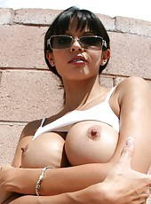 Brunette milf Shy Love gets a hot sperm in her sweet and juicy mouth