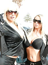 Outdoor lesbian action with passionate blondes named Nikki Benz and Puma Swede