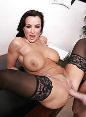 Pretty whore Lisa Ann takes a big dick and sucks it like a horny whore
