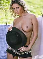 Sexy milf Daria Glover strips in the exciting outdoor scene