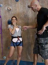 Horny Rachel RoXXX was climbing the wall and got a big cock