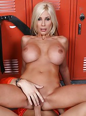 Amazing blonde milf with huge boobs got relaxing facial in the locker room