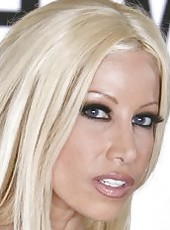 Glamorous and gorgeous blonde bombshell Gina Lynn in amazing striptease action
