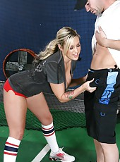 Charming blonde milf Memphis Monroe has fun with her baseball trainer