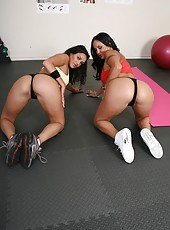 Black haired naughty milfs Charley Chase and Mariah Milano and their big breasts