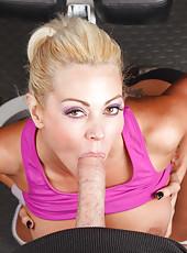 Big titted blonde hottie Nikita Von James enjoy practicing sports with big cock