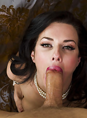 Naked brunette cougar Veronica Avluv seduces lucky boyfriend with her big tits