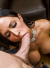 Buxom horny brunette Jewels Jade fucking with big dicked bald man