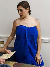 Brunette Raylene uses her big boobs to make big cock cumming hard