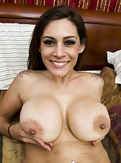 Brunette Raylene uses her big boobs to make big cock cumming hard