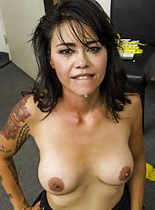 Horny brunette Dana Vespoli got a huge dick in the tight asshole