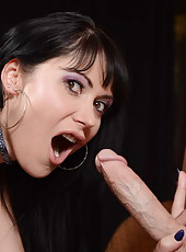 Black haired milf Eva Karera presents amazing blowjob and gets on dick