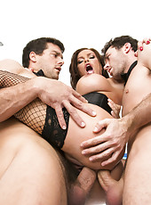 Mesmerizing milf with huge melons Diamond Foxxx gets gangbanged hard