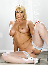 Mature blonde with chubby big tits Mellanie Monroe amazing strip show