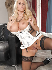 Sumptuous blonde with big tits Karen Fisher demonstrates her fantastic forms