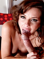 Luxury brunette in hot stockings Veronica Avluv fucks with a man in a hat