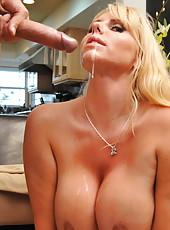 Super buxom blonde milf Karen Fisher rides big cock like an ambitious schoolgirl