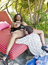 Outdoor interracial scene with super curvy mature woman Vanessa Blue
