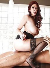 Busty redhead in sexy stockings Tiffany Mynx got a portion of thick semen