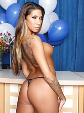 Buxom and fascinating milf Kayla Carrera poses with her flawless body