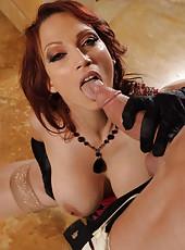 Fantastic redhead milf with big boobs Nicki Hunter presents a luxury fuck