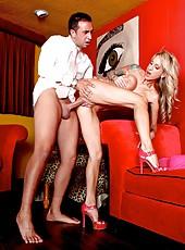 Ravishing slut Sarah Jessie getting fully satisfied while riding a big cock