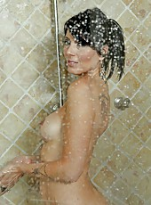 Cocky mature Zoey Holloway taking a shower and swallowing her friend