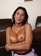 Attractive pornstar Lezley Zen swallowing a big cock in the dressing room