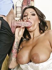 Brave bride Ricki Raxxx making a blowjob and getting a facial cumshot